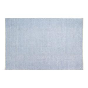 Handwoven Powder Blue Field Cotton Rug, 200x300 Cm