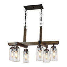 Home Glow 6-Light Chandelier Distressed Pine Clear Glass