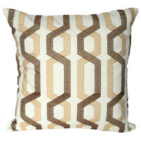 "AB Home 18""x18"" Brown And Tan Cotton Pillow"