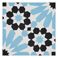"""8""""x8"""" Agdal Handmade Cement Tile, Black ,Sky Blue, Set of 12"""