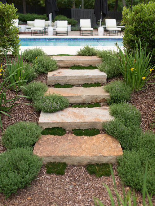 Natural stone steps houzz Round wooden stepping stones
