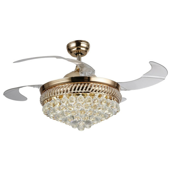 LED Ceiling Fan With Crystal Shade