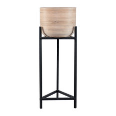 Lima Rattan Indoor Planter With Metal Stand, Large