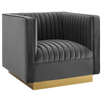 Modway Vertical Channel Tufted Accent Performance Velvet Armchair EEI-3406-GRY