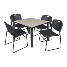 Kee 42-inch Square Breakroom Table Maple/ Black And 4 Zeng Stack Chairs Black