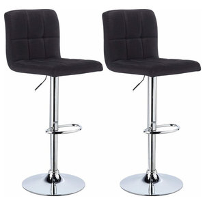 Contemporary Set of 2 Bar Stools, Linen Fabric With  Adjustable Lift, Black