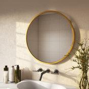 """Bali Modern Round Wall Mirror, Gold, 24"""""""