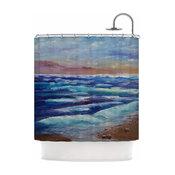 """Cyndi Steen """"Beach Dreams"""" Blue Brown Shower Curtain"""