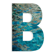 "Blue Water Reflections Patterned Initial B 18"" Hanging Initial, 12""x18"""