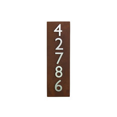 Vertical Address Plaque with, 5, Address Numbers, Rust