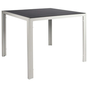 Modern Square Table, Aluminium Frame and Black Tempered Glass Tabletop