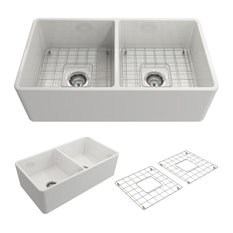 "Bocchi Classico Farmhouse Apron Front 33"" Double Bowl Kitchen Sink, White"