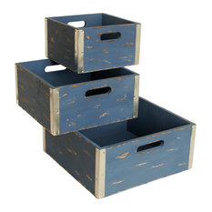 Different Sized Blue Wooden Crates, Set of 3, Blue