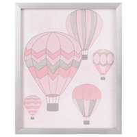 Pink and Silver Foil Hot Air Balloon 18x22 Framed Wall Art Print