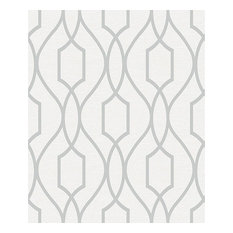 Evelyn Silver Trellis Wallpaper, Swatch