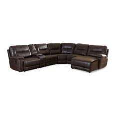 Whole Interior Dark Brown Leather 6 Piece Sectional With Recliners Corner Lounge Suite