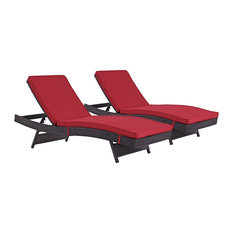 Convene Chaise Outdoor Upholstered Fabric Set of 2, Espresso Red