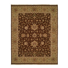 Sierra Flatweave Hand-Knotted Rug, Brown and Gold, 12'x18'