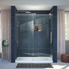 Enigma-Z 30x60x78 3/4 Sliding Shower Door, Brushed Steel, Right Drain White Base