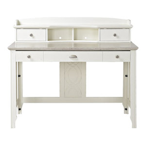 Salinas Mission Style Desk With Hutch Antique White