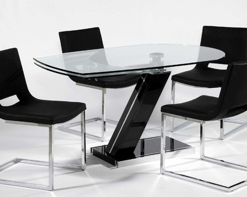 Extendable Round Rectangular Clear Glass Top Leather Designer Table Set