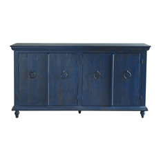 Crafters and Weavers - Macao Collection Rustic Solid Wood Sideboard, Living Room Console With 4-Doors - Buffets and Sideboards