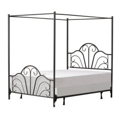 Hillsdale Dover Queen Metal Canopy Scrollwork Bed in Textured Black