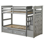 Acme Furniture - ACME Allentown Twin/Twin Bunk Bed With Storage Ladder and Trundle, Gray - Designed to save space, this twin over twin bunk bed is a perfect solution for your children's bedroom. The piece features durability, a rich gray finish, a relaxing style, and full-length guard rails for safety. The included staircase offers easy access to the top bunk and drawers for additional storage and convenience.