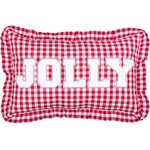 "VHC Brands - Emmie Jolly 14""x22"" Pillow - The 14x22 Emmie Jolly Pillow features red ""JOLLY"" lettering on red checks. Trimmed with ruffles and reverses to red and white check. 100% cotton with polyester fill."