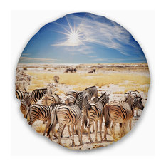 """Beautiful Herd of Zebra on Bright Day African Wall Throw Pillow, 20"""" Round"""