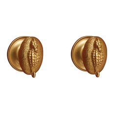 Sea Horse Cabinet Knob, Polished Brass Unlacquered