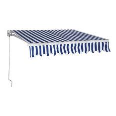 Aluminum Patio Manual Retractable Sun Shade Awning Sunshade, Blue