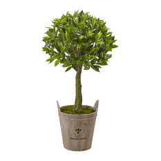 Artificial Tree, Sweet Bay Topiary Tree With Farmhouse Planter