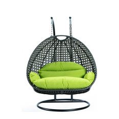 2 Person Charcoal Wicker Double Hanging Egg Swing Chair, Light Green
