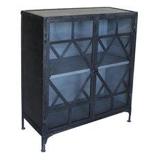 DOMINGUEZ Sideboard Gunmetal Lime Glass Iron 2 -Door 1 -Shelf