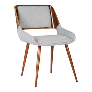 Panda Mid-Century Dining Chair, Walnut, Gray