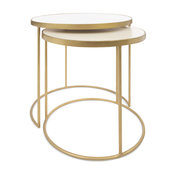Cecil Marble and Brass Nesting Tables, Set of 2, Marble and Brass