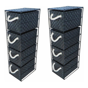 Set of 2 Drawer Storage Cabinet Units, Metal Frame With 4 Wicker Drawers, Black