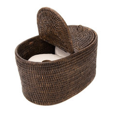 Artifacts Rattan Oval Double Tissue Roll Holder, Espresso