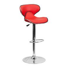 Flash Furniture Contemporary Cozy Mid-Back Red Vinyl Adjustable H Bar Stool