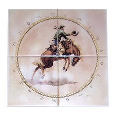 Bronco Rider Kiln Fired Ceramic Tile Mural Cowboy Horse Backsplash, 4-Piece Set