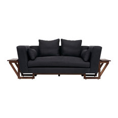 Large Love Seat, Charcoal, Walnut Base