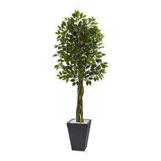 6.5 ft. Ficus Artificial Tree with Slate Planter in Green