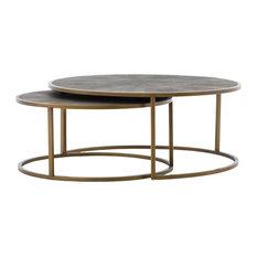 Bentley Nesting Coffee Table, Antique Brass