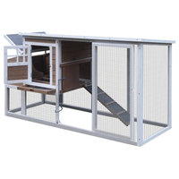 "SBS011YW Wooden Pet Poultry Hutch, Coop Cage, Yellow, White, 77.9""x29.5""x40.5"""