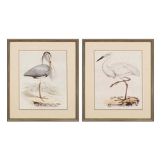 "Antique Herons Artwork, Set of 2, 24""x28"""