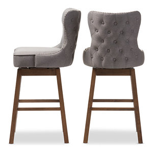 Gradisca Brown Wood and Tufted Swivel Barstool, Set of 2, Gray