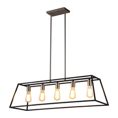 OVE Decors Agnes II 5-Light Black and Brushed Nickel Pendant Transitional Linear