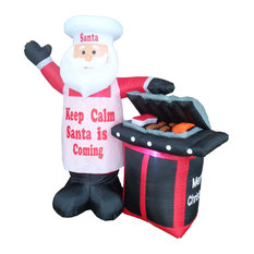 Santa Claus With BBQ Grill, 5.3'