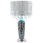 """River of Goods - 24.25"""" Gloria's Crystal Beaded Table Lamp With Mosaic Base, Turquoise - Life is fun and free!  So is this beautifully crafted crystal beaded table lamp with mosaic glass base.  The metal shade features a lace work pattern, turquoise gems, and clear hanging crystals.  The base is a mosaic glass design with silvers and blues.  Each piece alone is stunning, but put them together and you have a showstopper!  Great for a forgotten corner of your living room, or as a focal point in the bedroom.  Bring in the light and glitter!"""
